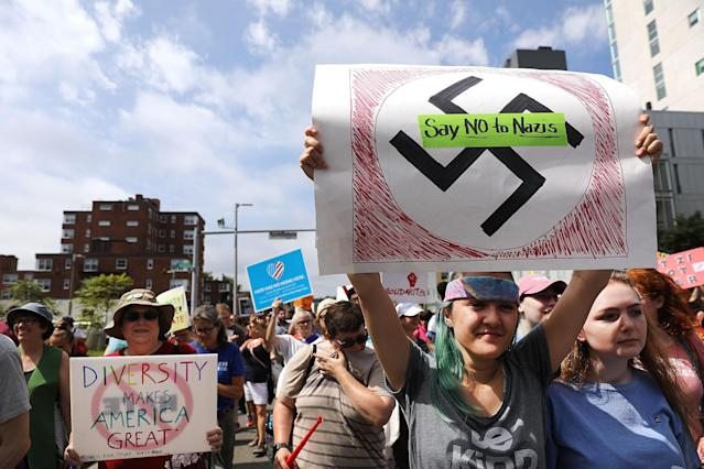 <p>Thousands of protesters march in Boston against a planned 'Free Speech Rally' just one week after the violent 'Unite the Right' rally in Virginia left one woman dead and dozens more injured on Aug. 19, 2017 in Boston, Mass. (Photo: Spencer Platt/Getty Images) </p>