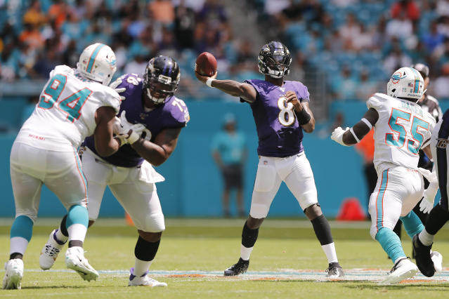It was quite a homecoming for Ravens QB Lamar Jackson, who destroyed the Miami Dolphins in the season opener. (Getty Images)