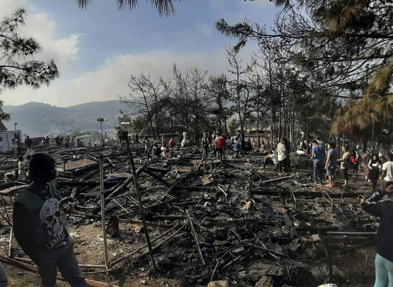 Clashes broke out and a fire erupted at a migrant camp on the island of Samos this week (AFP Photo/-)