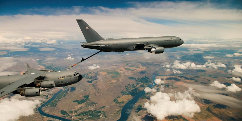 Boeing's KC-46 aerial refueling tanker conducts receiver compatibility tests with a U.S. Air Force C-17 Globemaster III from Joint Base Lewis-McChord, in Seattle