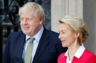 Boris Johnson and Ursula von der Leyen in London back in January. The Covid pandemic means Saturday's talks can't be face to face