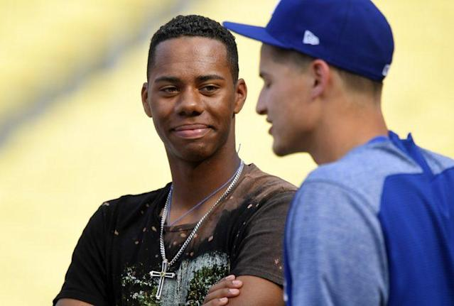 Hunter Greene (L) went No. 2 overall to the Reds in the 2017 MLB draft. (AP)