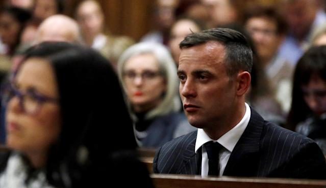 Former Paralympian Oscar Pistorius attends the sentencing for the murder of Reeva Steenkamp at the Pretoria High Court, South Africa June 13, 2016. REUTERS/Themba Hadebe/Pool