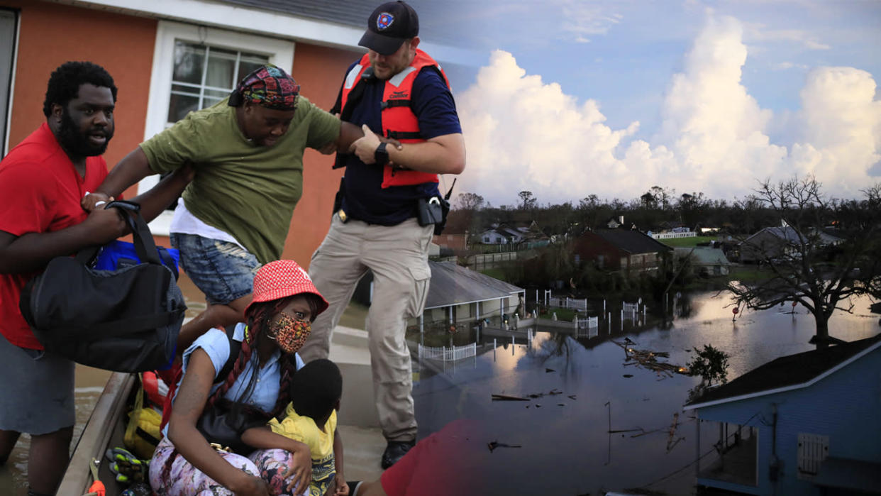 First responders rescue residents from floodwater left behind by Hurricane Ida in LaPlace, Louisiana, U.S., on Monday, Aug. 30, 2021. [left] Floodwaters left behind by Hurricane Ida in LaPlace, Louisiana, U.S., on Monday, Aug. 30, 2021. [right] (Photo Illustration: Yahoo! News; Photos: Luke Sharrett/Bloomberg via Getty Images (2))