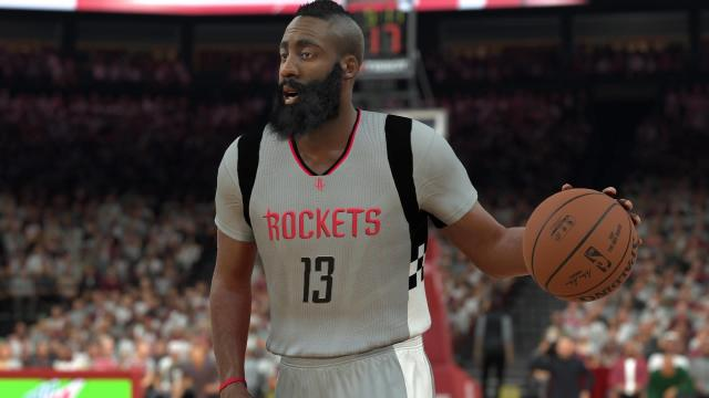 "With a move up to a rating of 96 James Harden trails only LeBron James for best player in ""NBA 2K17."""