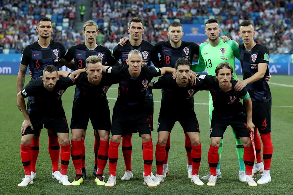 Players of Croatia pose for a photo ahead of the 2018 FIFA World Cup Russia Round of 16 match between Croatia and Denmark at the Nizhny Novgorod Stadium in Nizhny Novgorod, Russia on July 01, 2018. (Getty Images)