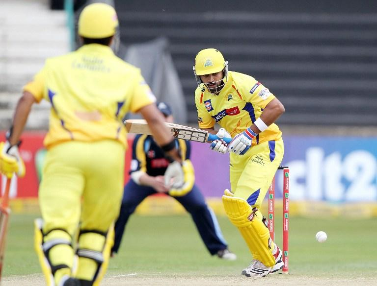Murali Vijay of the Chennai Super Kings bats on October 22, 2012 during a Champions League T20 (CLT20) match against Yorkshire at the Kingsmead stadium in Durban. AFP PHOTO / STR