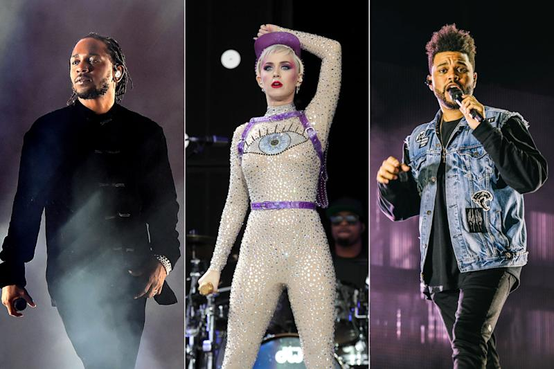 Kendrick Lamar, Katy Perry, and the Weeknd