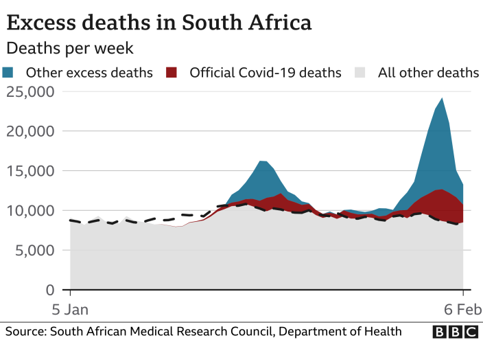 Graph showing South Africa's excess deaths