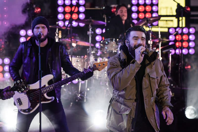 Sam Hunt performs during New Year's Eve celebrations in Times Square in the Manhattan borough of New York