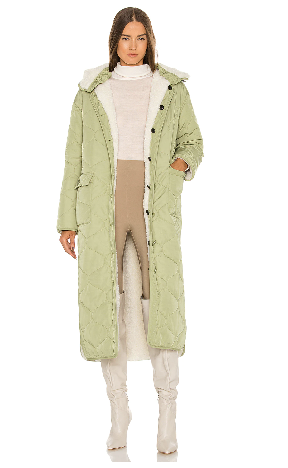 Eaves Layla Coat in light green with white boots