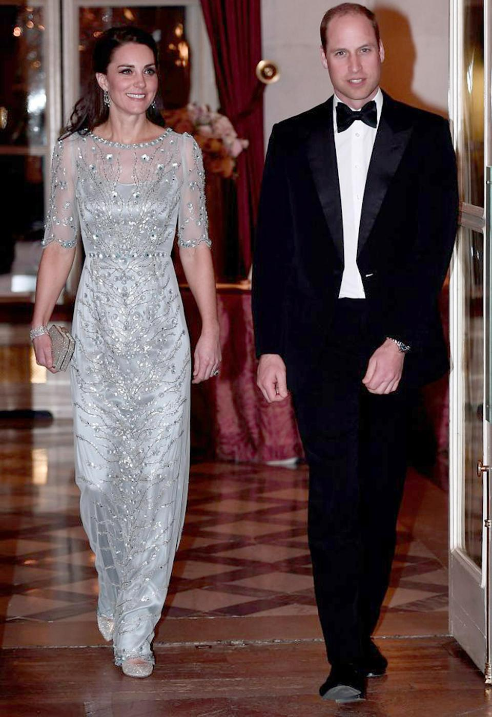 <p><strong>When:</strong> March 17, 2017 <strong>Where:</strong> Dinner gala at the British Embassy in Paris <strong>Wearing:</strong> Jenny Packham ice-blue embellished gown <strong>Get the Look:</strong> Jenny Packham Beaded Long-Sleeve Boat-Neck Dress, $4,715; <span>neimanmarcus.com</span> Adrianna Papell Sequined Beaded Tulle Mermaid Gown, $349; <span>macys.com</span></p>