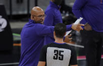 Phoenix Suns head coach Monty Williams argues a call with referee Jason Goldenberg (35) during the first half of an NBA basketball game in San Antonio, Sunday, May 16, 2021. (AP Photo/Eric Gay)