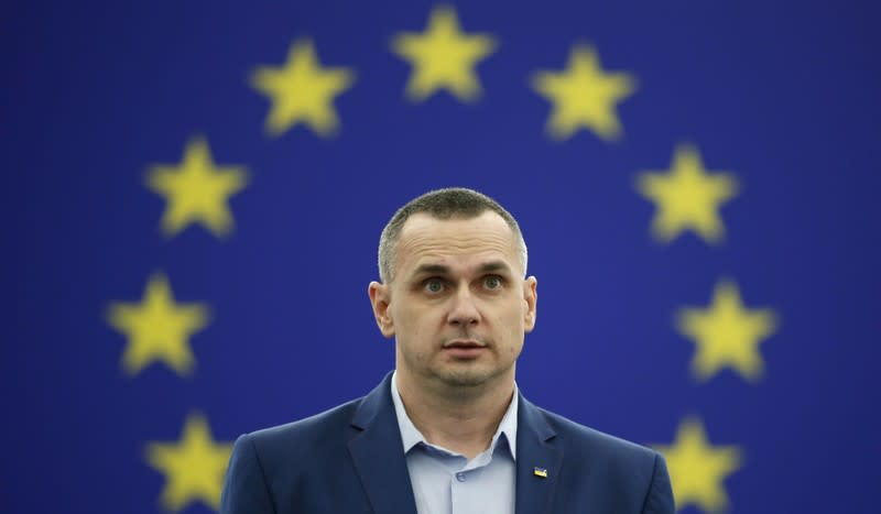 Ukrainian film director Sentsov adresses the European Parliament during an award ceremony for his 2018 Sakharov Prize in Strasbourg