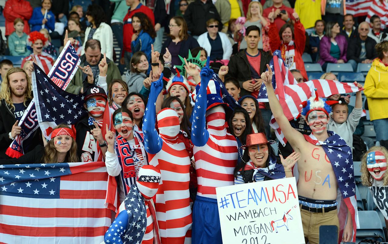 Jul 28, 2012; Glasgow, United Kingdom; USA fans cheer during the women's soccer preliminary match against Colombia in the 2012 London Olympic Games at Hampden Park. Mandatory Credit: Matt Kryger-USA TODAY Sports