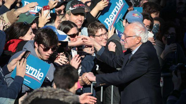 PHOTO: Democratic presidential candidate Sen. Bernie Sanders greets supporters as he leaves a campaign rally in Grant Park, March 7, 2020 in Chicago. (Scott Olson/Getty Images, FILE)
