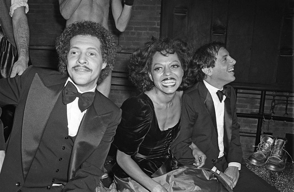 <p>Diana Ross rings in 1979 at a New Year's Eve party at Studio 54. The singer was joined by her friend, and the owner of the nightclub, Steve Rubell. </p>
