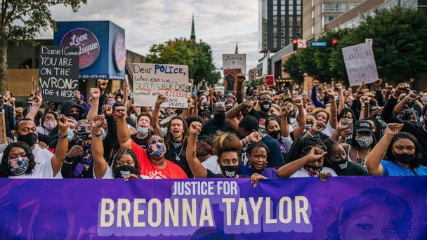 PHOTO: Protestors march in the street during a demonstration on Sept. 23, 2020, in Louisville, Ky. (Brandon Bell/Getty Images, FILE)