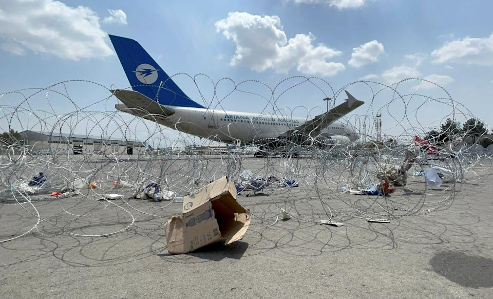 A commercial airplane is seen at the Hamid Karzai International Airport a day after U.S troops withdrawal in Kabul, Afghanistan August 31, 2021. REUTERS/Stringer