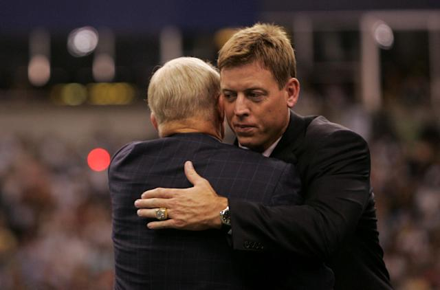 "Troy Aikman and Jerry Jones have shared a lot of good times, but the former Cowboys QB says the team needs a ""complete overhaul."" (Getty)"