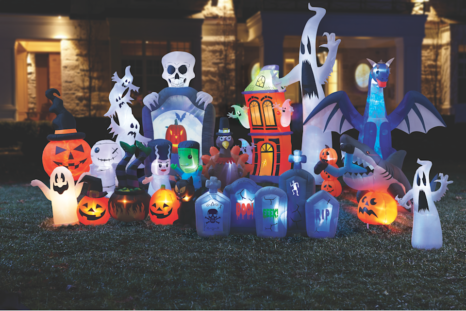Inflatable Halloween lawn ornaments from Canadian Tire
