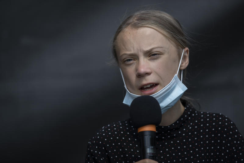 BERLIN, GERMANY - AUGUST 20: Swedish climate activist Greta Thunberg speaks a press conference after the meeting with German Chancellor Angela Merkel on August 20, 2020 in Berlin, Germany. Two years on from her first school strike, 17-year-old climate activist Greta Thunberg is meeting German Chancellor Angela Merkel to deliver a petition letter calling for EU leaders to end investments in the exploration and extraction of fossil fuels. (Photo by Maja Hitij/Getty Images)