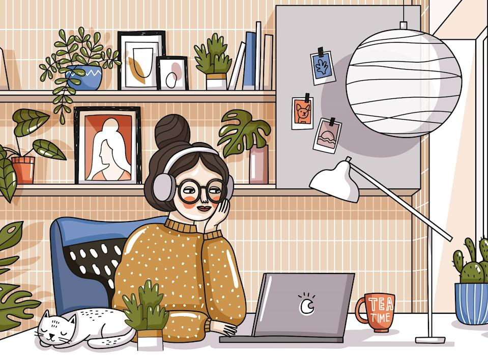 Work at home! Vector cute illustration of Coronavirus quarantine, self isolation. Woman working laptop in comfortable workplace, modern interior, cat, decor and plants. Drawings banner, card, postcard