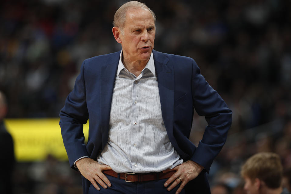 Cleveland Cavaliers head coach John Beilein in the second half of an NBA basketball game Saturday, Jan. 11, 2020, in Denver. The Cavaliers won 111-103. (AP Photo/David Zalubowski)