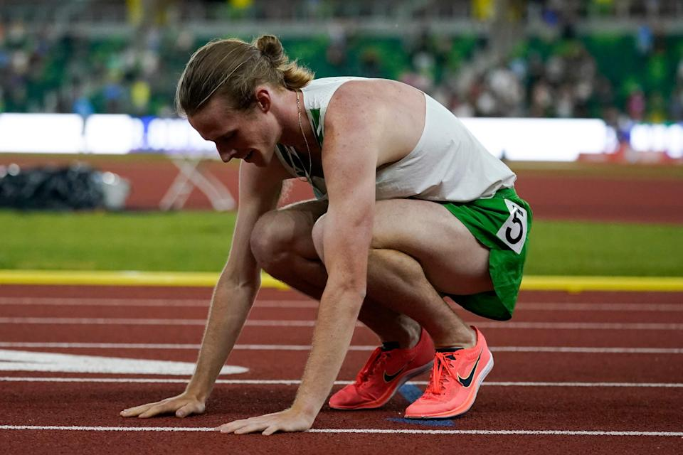 Cole Hocker celebrates after winning the final in the men's 1500-meter run at the U.S. Olympic track and field trials on June 27 in Eugene, Ore.