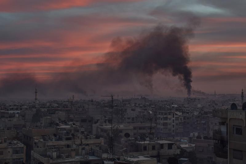 Eastern Ghouta following an airstrike carried out by the Assad regime