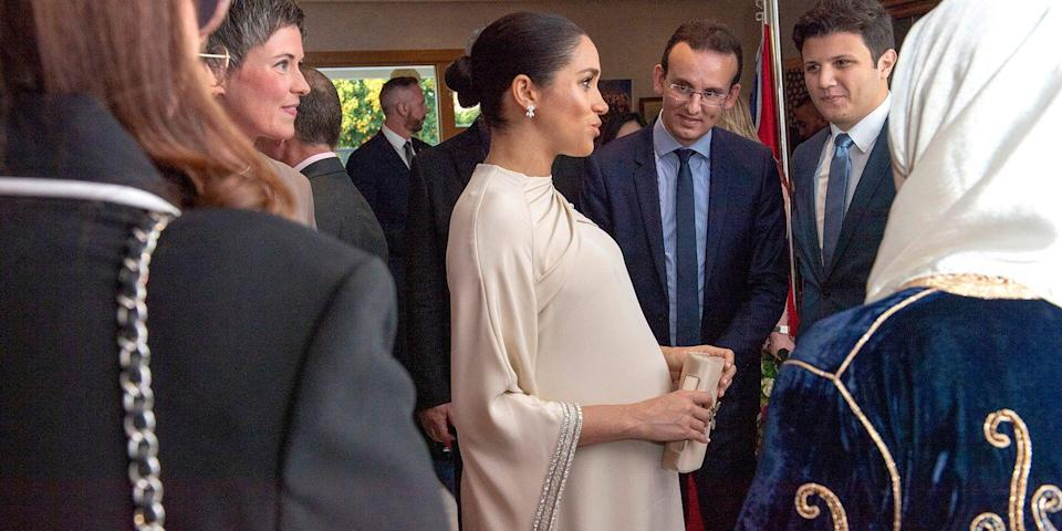 <p>Just a couple of months before welcoming baby Sussex, Meghan and Harry took a last-minute trip overseas to Morocco, where they attended a number of engagements on behalf of the UK government. Meghan wore this gorgeous floaty Dior dress for a reception hosted by the British Ambassador to Morocco at the British Residence, which showed off her ever-growing bump beautifully.<br></p>