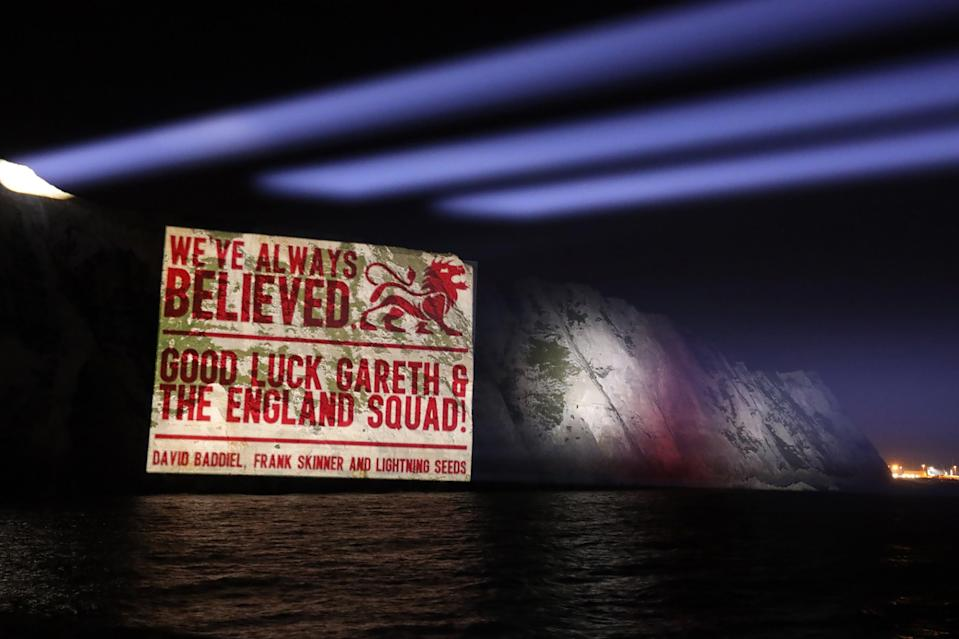 A good luck message on the White Cliffs of Dover (PA) (PA Media)