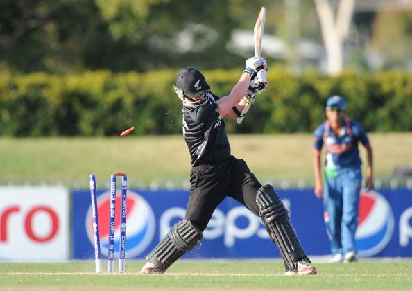 TOWNSVILLE, AUSTRALIA - AUGUST 23:  Cameron Fletcher of New Zealand is bowled by Sandeep Sharma of India during the ICC U19 Cricket World Cup 2012 Semi Final match between India and New Zealand at Tony Ireland Stadium on August 23, 2012 in Townsville, Australia.  (Photo by Malcolm Fairclough-ICC/Getty Images)