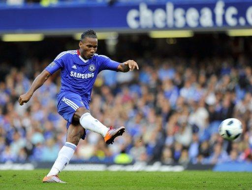 """Shanghai Shenhua's talks with Didier Drogba, seen here in 2010, are continuing """"just as planned"""", a report said Wednesday, raising expectations the striker will move to China after announcing his departure from Chelsea"""