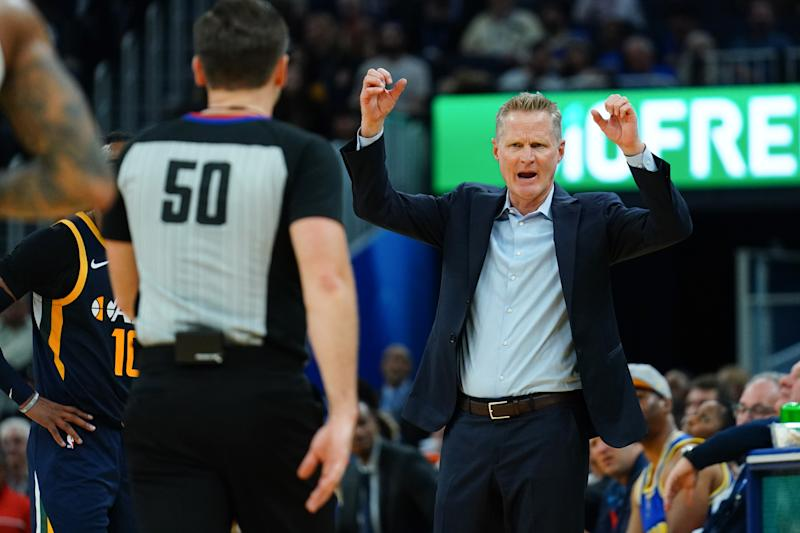 SAN FRANCISCO, CALIFORNIA - NOVEMBER 11: Golden State Warriors head coach Steve Kerr reacts to a play during the first half against the Utah Jazz at Chase Center on November 11, 2019 in San Francisco, California. NOTE TO USER: User expressly acknowledges and agrees that, by downloading and/or using this photograph, user is consenting to the terms and conditions of the Getty Images License Agreement. (Photo by Daniel Shirey/Getty Images)
