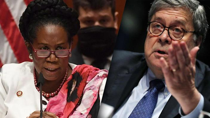 Rep. Shirley Lee Jackson, D-Texas, and Attorney General William Barr. (Matt McClain/Pool/AFP via Getty Images, Chip Somodevilla/Pool/AFP via Getty Images)