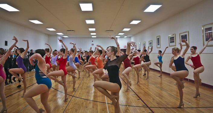 Young women from around the country audition to appear with The Rockettes at the 2013 Radio City Christmas Spectacular, Tuesday, April 30, 2013 in new York.  Those who make it will return for the show that runs from Nov. 8 to Dec. 30.  (AP Photo/Bebeto Matthews)