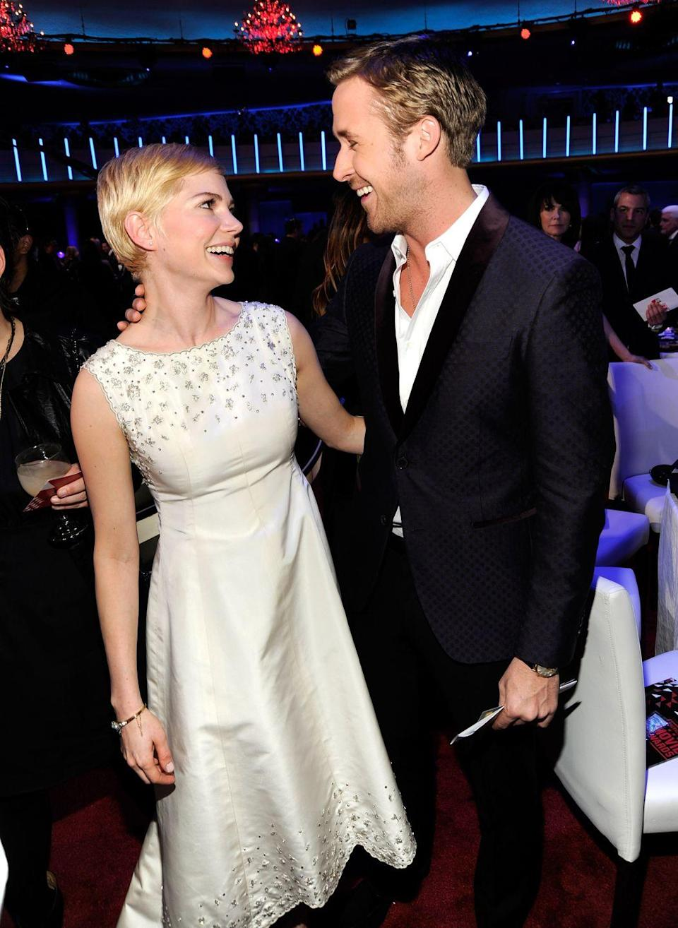 """<p>Williams and Gosling lived together <a href=""""http://hollywoodlife.com/2010/12/14/michelle-williams-ryan-gosling-blue-valentine-living-together/"""" rel=""""nofollow noopener"""" target=""""_blank"""" data-ylk=""""slk:while filming the movie Blue Valentine"""" class=""""link rapid-noclick-resp"""">while filming the movie <em>Blue Valentine</em></a>—per the director's request. The two were only supposed to live together for a week, but they really wanted to get into character and ended up staying roommates for a month, living off a nurse's and painter's salary.</p>"""