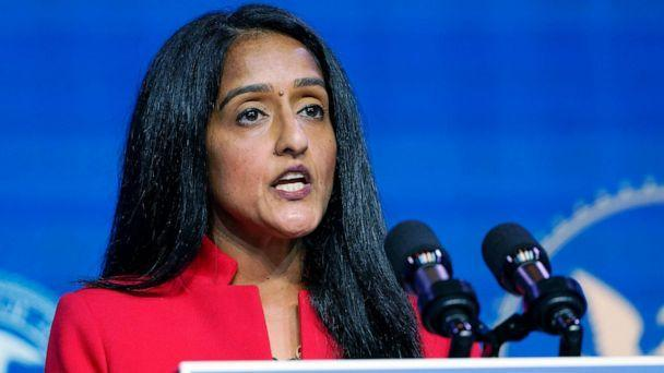 PHOTO: In this Jan. 7, 2021, file photo, Associate Attorney General nominee Vanita Gupta speaks during an event with President-elect Joe Biden and Vice President-elect Kamala Harris at The Queen theater in Wilmington, Del. (Susan Walsh/AP, FILE)