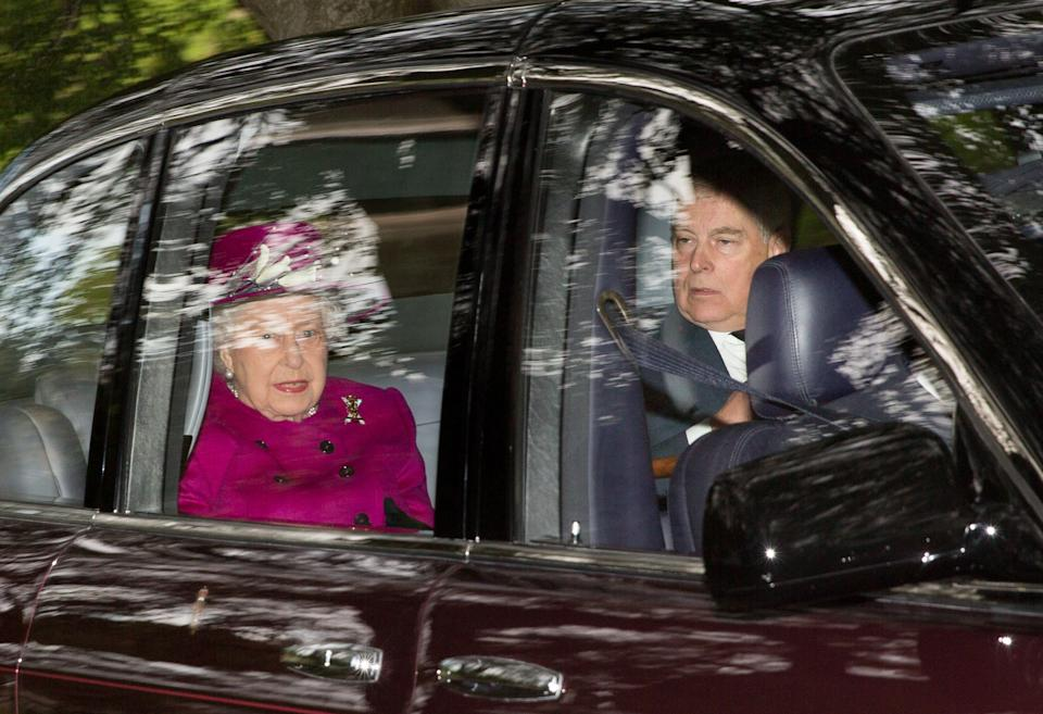 Queen Elizabeth II arrives with her son the Duke of York, at Crathie Kirk to attend a Sunday morning church service near Balmoral, where members of the royal family are currently spending their summer holidays.