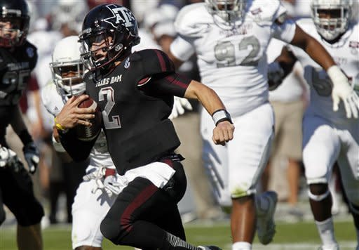 Texas A&M quarterback Johnny Manziel (2) sprints into the end zone for a touchdown in the second quarter of an NCAA college football game against Mississippi State in Starkville, Miss., Saturday, Nov. 3, 2012. (AP Photo/Rogelio V. Solis)