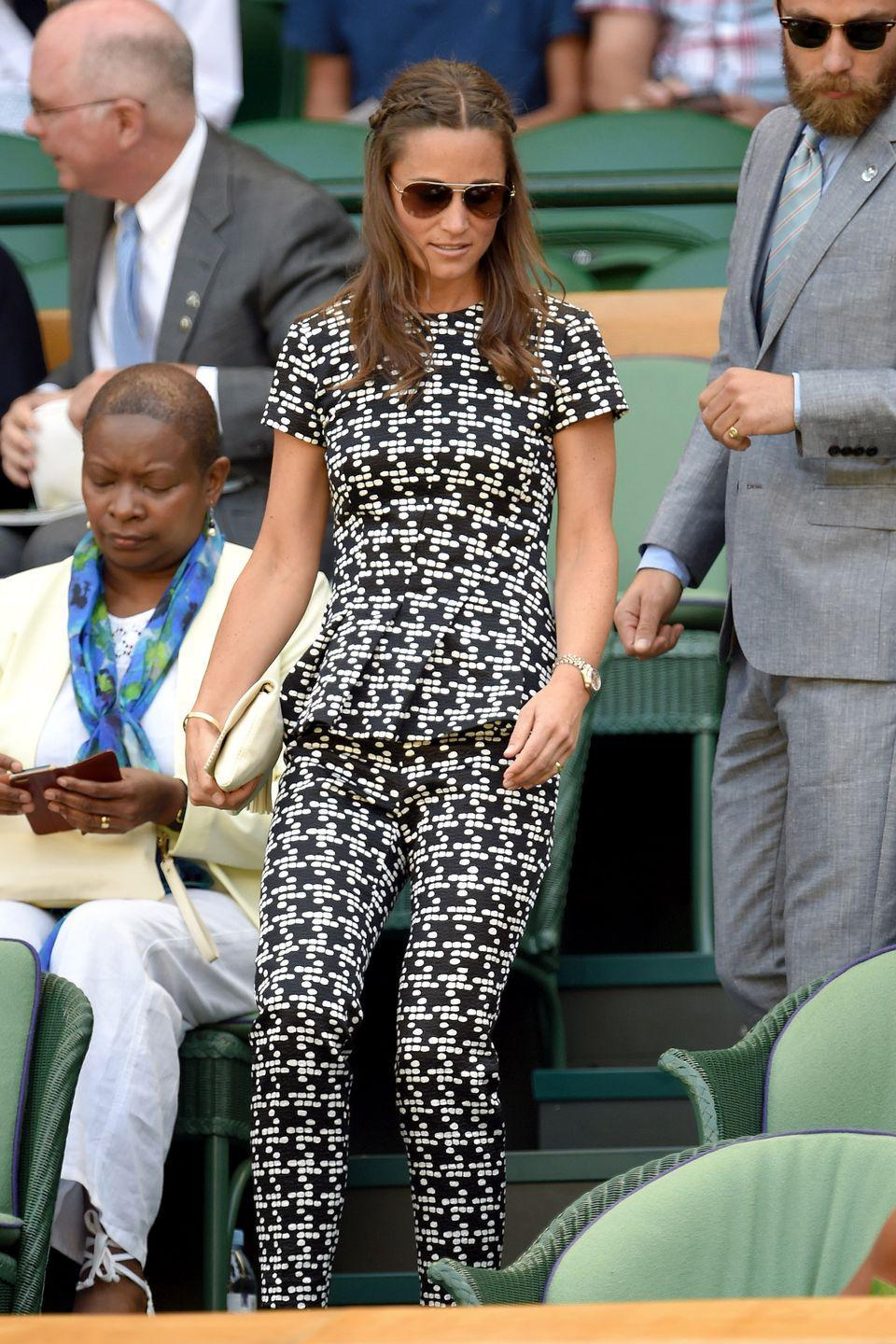<p><strong>2015</strong> Pippa Middleton made a statement in a patterned jumpsuit.</p>