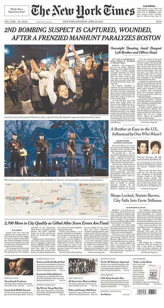 New York Times, April 20, 2013.