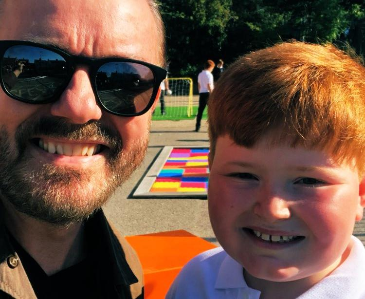 Ricky Gervais has confirmed child actor Thomas Bastable will return for the second season of 'After Life'. (Credit: Twitter/Ricky Gervais)