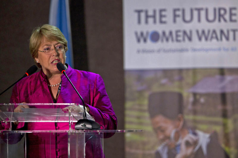 """Chile's former President and head of UN Women Michelle Bachelet speaks at """"The Future Women Want"""" conference, a parallel event to the United Nations Conference on Sustainable Development or Rio+20, in Rio de Janeiro, Brazil, Thursday, June 21, 2012. (AP Photo/Silvia Izquierdo)"""