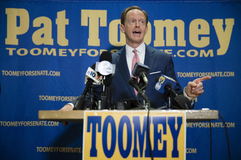 Sen. Pat Toomey, who condemned Trump's comments from the 2005 video but hasn't rejected the GOP candidate altogether, campaigns in Villanova, Pa., on Tuesday. (Photo: Matt Rourke/AP)