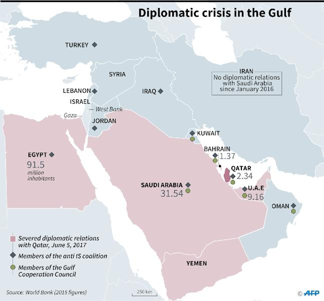 Diplomatic crisis in the Gulf (AFP Photo/Gillian HANDYSIDE, Sophie RAMIS)
