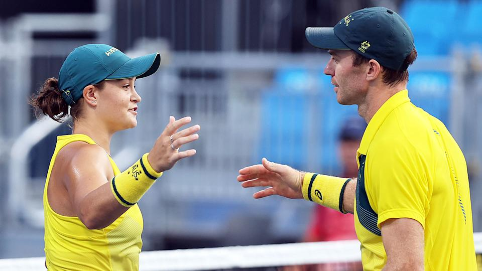 Seen here, Australians Ash Barty and John Peers competing in the mixed doubles in Tokyo.