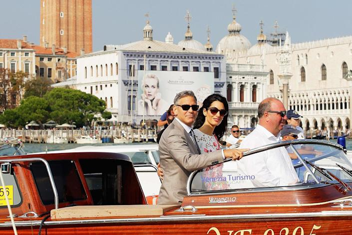 George Clooney And Amal Alamuddin at Piazza San Marco in Venice, Italy.