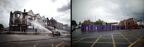 In this composite image (Left Photo) Fire officers damp down smouldering buildings on London Road on August 9, 2011 in Croydon, England. (Right Photo) The space left by buildings destroyed by fire on London Road, in Croydon, one year on from the riots. August 6th marks the one year anniversary of the England riots, over the course of four days several London boroughs, and districts of cities and towns around England suffered widespread rioting, looting and arson as thousands took to the streets. (Peter Macdiarmid/Getty Images)